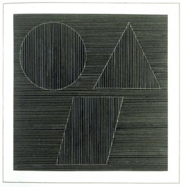 Plate 34 in the book Six geometric figures and all their combinations using white lines in two directions (New York: Parasol Press Ltd. :1980), vol. 2 (of 2) ( white on black)