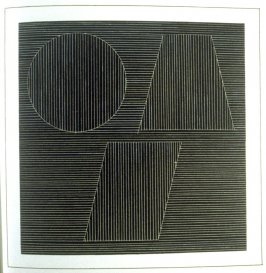 Plate 37 in the book Six geometric figures and all their combinations using white lines in two directions (New York: Parasol Press Ltd. :1980), vol. 2 (of 2) ( white on black)