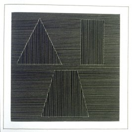 Plate 38 in the book Six geometric figures and all their combinations using white lines in two directions (New York: Parasol Press Ltd. :1980), vol. 2 (of 2) ( white on black)