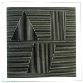Plate 39 in the book Six geometric figures and all their combinations using white lines in two directions (New York: Parasol Press Ltd. :1980), vol. 2 (of 2) ( white on black)
