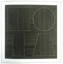 Plate 45 in the book Six geometric figures and all their combinations using white lines in two directions (New York: Parasol Press Ltd. :1980), vol. 2 (of 2) ( white on black)