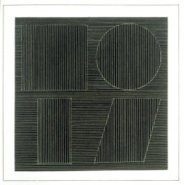 Plate 46 in the book Six geometric figures and all their combinations using white lines in two directions (New York: Parasol Press Ltd. :1980), vol. 2 (of 2) ( white on black)