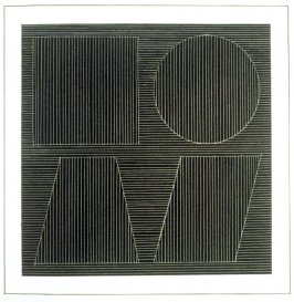 Plate 47 in the book Six geometric figures and all their combinations using white lines in two directions (New York: Parasol Press Ltd. :1980), vol. 2 (of 2) ( white on black)