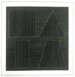 Plate 48 in the book Six geometric figures and all their combinations using white lines in two directions (New York: Parasol Press Ltd. :1980), vol. 2 (of 2) ( white on black)