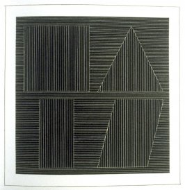 Plate 49 in the book Six geometric figures and all their combinations using white lines in two directions (New York: Parasol Press Ltd. :1980), vol. 2 (of 2) ( white on black)