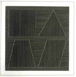 Plate 50 in the book Six geometric figures and all their combinations using white lines in two directions (New York: Parasol Press Ltd. :1980), vol. 2 (of 2) ( white on black)