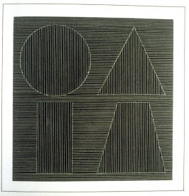 Plate 52 in the book Six geometric figures and all their combinations using white lines in two directions (New York: Parasol Press Ltd. :1980), vol. 2 (of 2) ( white on black)