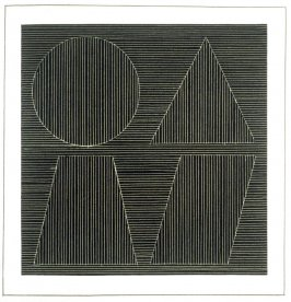 Plate 54 in the book Six geometric figures and all their combinations using white lines in two directions (New York: Parasol Press Ltd. :1980), vol. 2 (of 2) ( white on black)