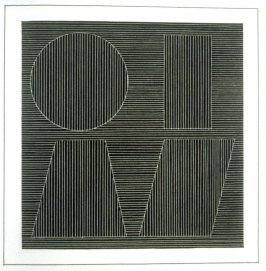Plate 55 in the book Six geometric figures and all their combinations using white lines in two directions (New York: Parasol Press Ltd. :1980), vol. 2 (of 2) ( white on black)