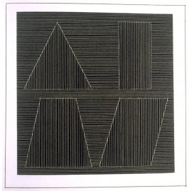 Plate 56 in the book Six geometric figures and all their combinations using white lines in two directions (New York: Parasol Press Ltd. :1980), vol. 2 (of 2) ( white on black)