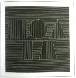Plate 57 in the book Six geometric figures and all their combinations using white lines in two directions (New York: Parasol Press Ltd. :1980), vol. 2 (of 2) ( white on black)