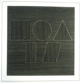 Plate 58 in the book Six geometric figures and all their combinations using white lines in two directions (New York: Parasol Press Ltd. :1980), vol. 2 (of 2) ( white on black)
