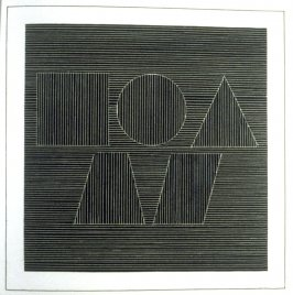 Plate 59 in the book Six geometric figures and all their combinations using white lines in two directions (New York: Parasol Press Ltd. :1980), vol. 2 (of 2) ( white on black)