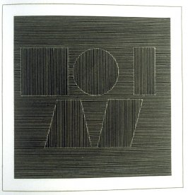 Plate 60 in the book Six geometric figures and all their combinations using white lines in two directions (New York: Parasol Press Ltd. :1980), vol. 2 (of 2) ( white on black)