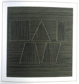 Plate 61 in the book Six geometric figures and all their combinations using white lines in two directions (New York: Parasol Press Ltd. :1980), vol. 2 (of 2) ( white on black)