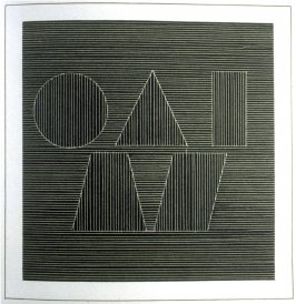 Plate 62 in the book Six geometric figures and all their combinations using white lines in two directions (New York: Parasol Press Ltd. :1980), vol. 2 (of 2) ( white on black)