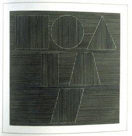 Plate 63 in the book Six geometric figures and all their combinations using white lines in two directions (New York: Parasol Press Ltd. :1980), vol. 2 (of 2) ( white on black)