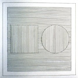 Plate 7 in the book Six geometric figures and all their combinations using black lines in two directions (New York: Parasol Press Ltd. :1980), vol. 1 (of 2) (black)
