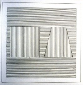 Plate 10 in the book Six geometric figures and all their combinations using black lines in two directions (New York: Parasol Press Ltd. :1980), vol. 1 (of 2) (black)