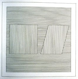 Plate 11 in the book Six geometric figures and all their combinations using black lines in two directions (New York: Parasol Press Ltd. :1980), vol. 1 (of 2) (black)