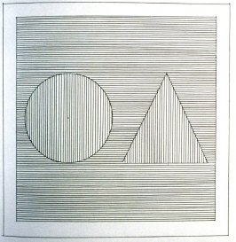 Plate 12 in the book Six geometric figures and all their combinations using black lines in two directions (New York: Parasol Press Ltd. :1980), vol. 1 (of 2) (black)