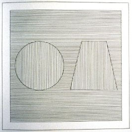 Plate 14 in the book Six geometric figures and all their combinations using black lines in two directions (New York: Parasol Press Ltd. :1980), vol. 1 (of 2) (black)