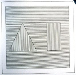 Plate 16 in the book Six geometric figures and all their combinations using black lines in two directions (New York: Parasol Press Ltd. :1980), vol. 1 (of 2) (black)