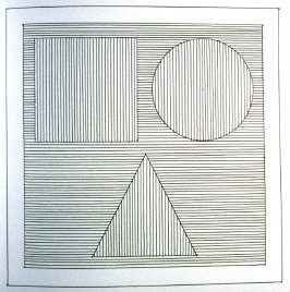Plate 22 in the book Six geometric figures and all their combinations using black lines in two directions (New York: Parasol Press Ltd. :1980), vol. 1 (of 2) (black)