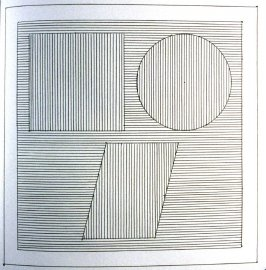 Plate 25 in the book Six geometric figures and all their combinations using black lines in two directions (New York: Parasol Press Ltd. :1980), vol. 1 (of 2) (black)