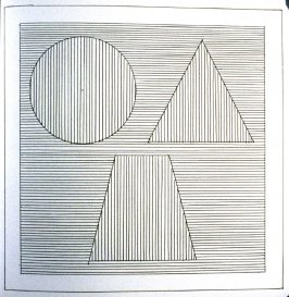 Plate 33 in the book Six geometric figures and all their combinations using black lines in two directions (New York: Parasol Press Ltd. :1980), vol. 1 (of 2) (black)