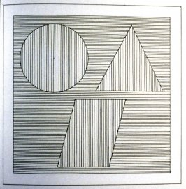 Plate 34 in the book Six geometric figures and all their combinations using black lines in two directions (New York: Parasol Press Ltd. :1980), vol. 1 (of 2) (black)