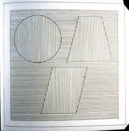 Plate 37 in the book Six geometric figures and all their combinations using black lines in two directions (New York: Parasol Press Ltd. :1980), vol. 1 (of 2) (black)