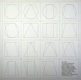 All double combinations (superimposed) of six geometric figures (circle square, triangle, rectangle, trapezoid and parallelogram)