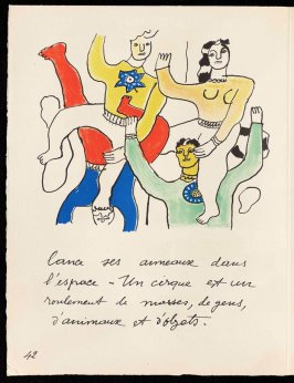 Untitled, pg. 42, in the book Cirque (Circus) by Fernand Léger (Paris: Tériade Editeur, 1950).