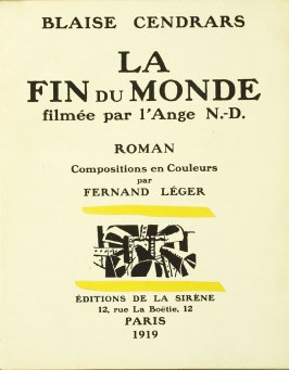 Half title page,1st illustration in the book La Fin du monde, filmée par l'ange N.D. by Blaise Cendrars (Paris: Editions de la Sirène, 1919)