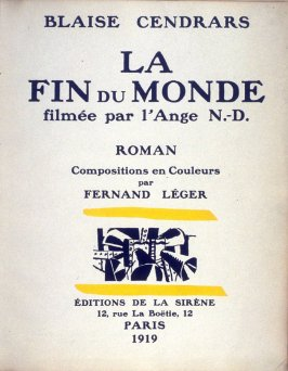 Title page, 2nd illustration in the book La fin du monde, filmée par l'ange N.D. by Blaise Cendrars (Paris: Editions de la Sirène, 1919)