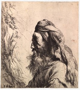 Bearded Man in Turban, in Profile Facing Left