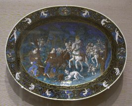 Salver with scene of Royal Stag Hunt