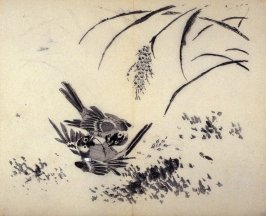 Two Fighting Birds under Millet, No.15 from the Volume on Birds - from: The Treatise on Calligraphy and Painting of the Ten Bamboo Studio