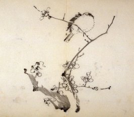 Solitary Bird on Plum Branch, No.1 from the Volume on Birds - from: The Treatise on Calligraphy and Painting of the Ten Bamboo Studio