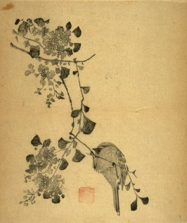 Bird Preening on Stump, No.20 from the Volume on Birds - from: The Treatise on Calligraphy and Painting of the Ten Bamboo Studio