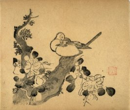Two Birds and Azalea, No.18 from the Volume on Birds - from: The Treatise on Calligraphy and Painting of the Ten Bamboo Studio
