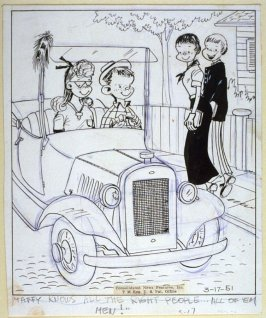 """Taffy knows all the right people..."", for the syndicated cartoon series Emmy Lou"
