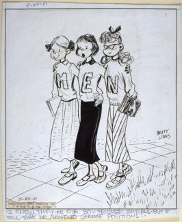 """I know they're our boyfriends' initials..."", for the syndicated cartoon series Emmy Lou"