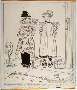 """""""Misplace your raincoat again, Nate?"""", for the syndicated cartoon series Emmy Lou"""
