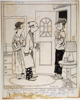 """Yes Alvin, EmmyLou is late coming home..."" , for the syndicated cartoon series Emmy Lou"