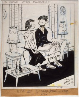 """To prove we're engaged!"", for the syndicated cartoon series Emmy Lou"