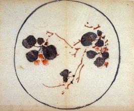 Cherries on a Branch, No.4 from the Volume on Round Fans - from: The Treatise on Calligraphy and Painting of the Ten Bamboo Studio