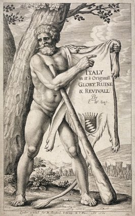 Hercules holding a lion skin; frontispiece from Italy, in its Original Glory, Ruine & Revival... by Franciscus Schottus transl. Edmund Warcupp (London: H. Twyford, Thomas Dring, J. Place, 1660)