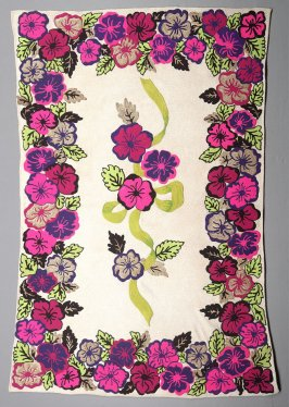Wall hanging:multi-colored floral on tan ground